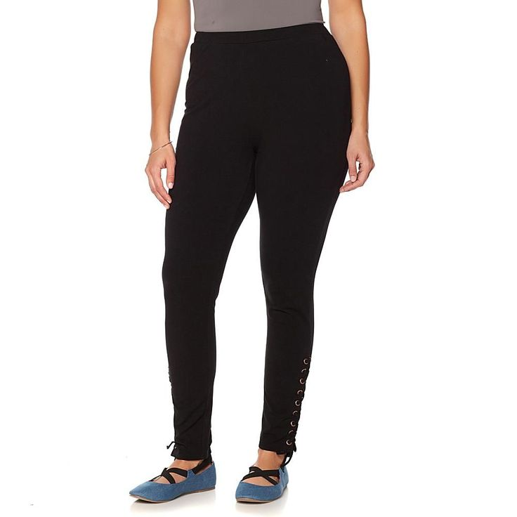 Wendy Williams Ankle-Laced Knit Legging - Black
