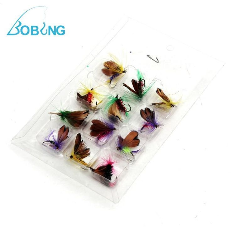Bobing 12pcs/lot Fly Fishing Hooks Fishing Lure Feather Steel Bait Hook Tackle Insect artificial Lure Carp Fishing accessories