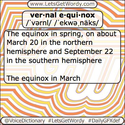 Vernal Equinox 03/20/2018 GFX Def of the Day  ver·nal e·qui·nox noun The #equinox in #spring on about #March 20 in the #northern hemisphere and #September 22 in the #southern #hemisphere The equinox in #March #LetsGetWordy #VoiceDictionary #DailyGFXDef #vernal #equinox #vernalequinox #Spring2018 #spring