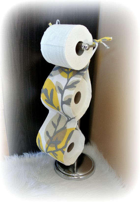 Fabric toilet paper holder yellow grey bathroom for Bathroom decor yellow and gray