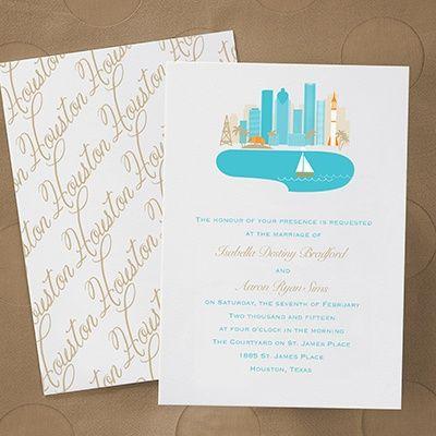 Cityscape Invitation Houston Destination Wedding Pinterest