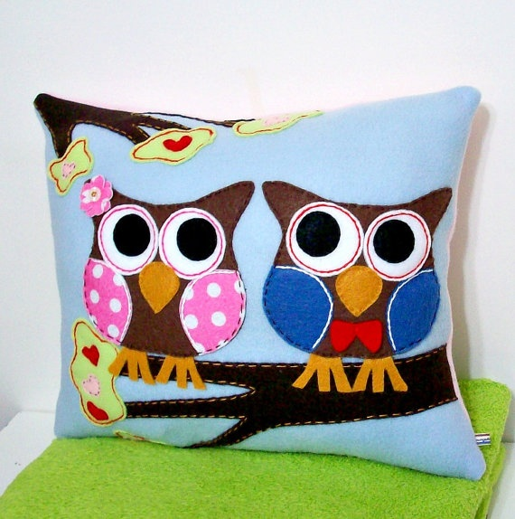 Owl Pillow Applique Pillow by LoungeAboutPillows on Etsy, $55.00