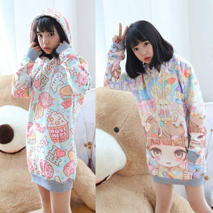 Japanese harajuku kawaii marca dragon hooded fleece pullover