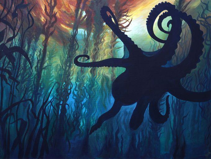 Kelp forest octopus underwater painting with seaweed