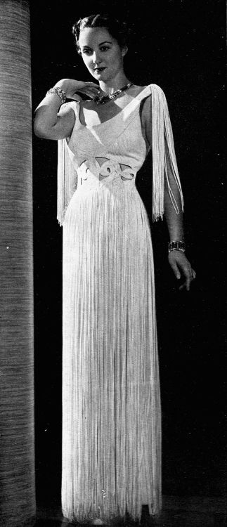 "les-modes 1936: "" Evening gown in white silk fringe by Jean Patou. Les Modes November…"