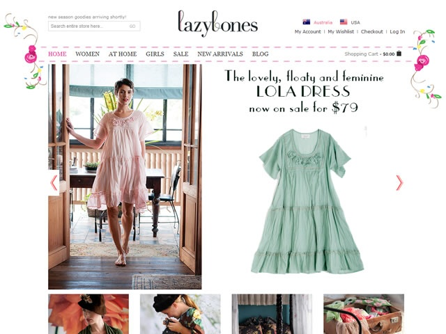 Web design for Lazybones (Clothing & Sleepwear). www.lazybones.com.au