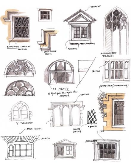 Fine art architectural painting resources for art for Window design sketch