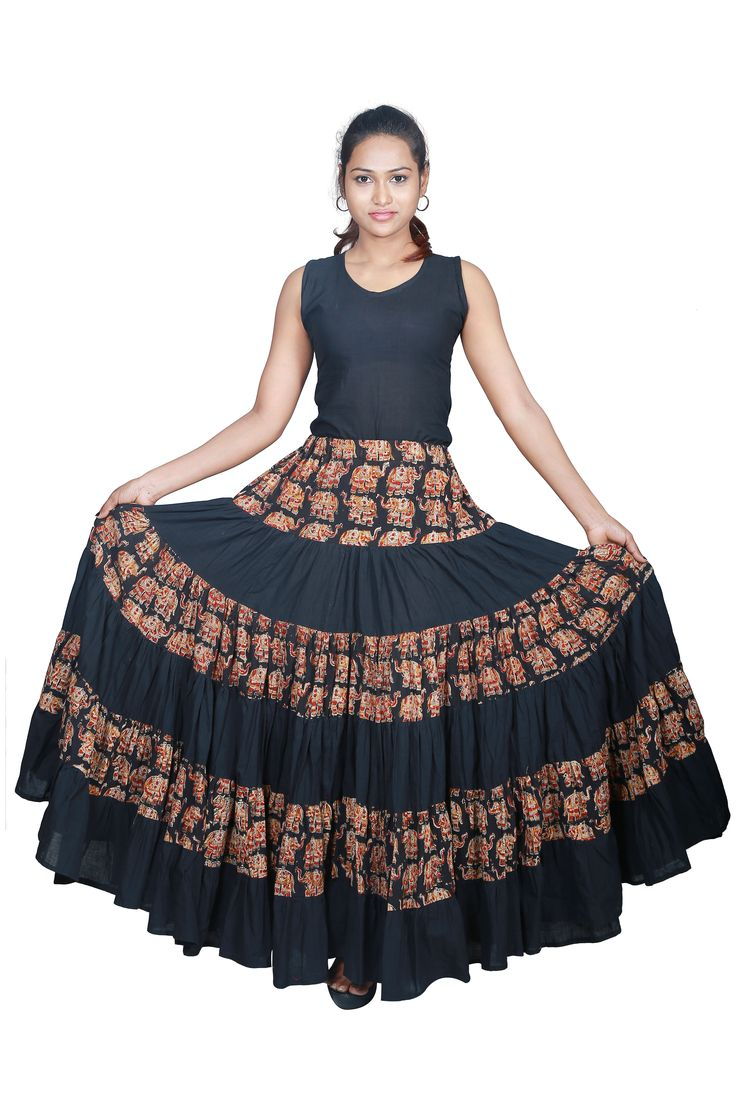 Look trendy by wearing this beautiful handcrafted kalamkari elephant motif skirt,create a western influence with this pure ethnic fabric. Cost:Rs 1200/- (for trade inquiries please contact our whatsapp no Single / Retail Customer ...please contact 8099433433 )