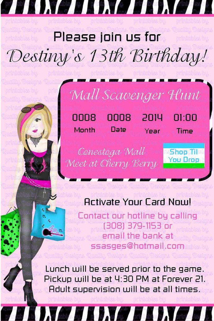 Mall Scavenger Hunt Printable Birthday Invitation Shopping