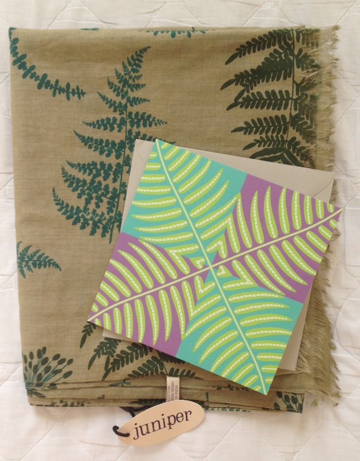 Women's green fern print scarf in 100% cotton with card by JuniperAccessories on Etsy