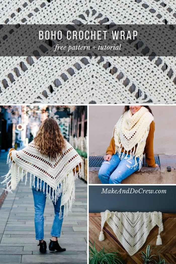 Chunky Crochet Triangle Scarf Boho Style Free Pattern Tutorial Crochet Triangle Scarf Crochet Triangle Scarf Crochet Pattern