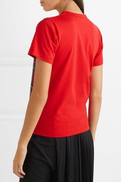 Comme des Garçons GIRL - Tartan Wool-appliquéd Cotton-jersey T-shirt - Red