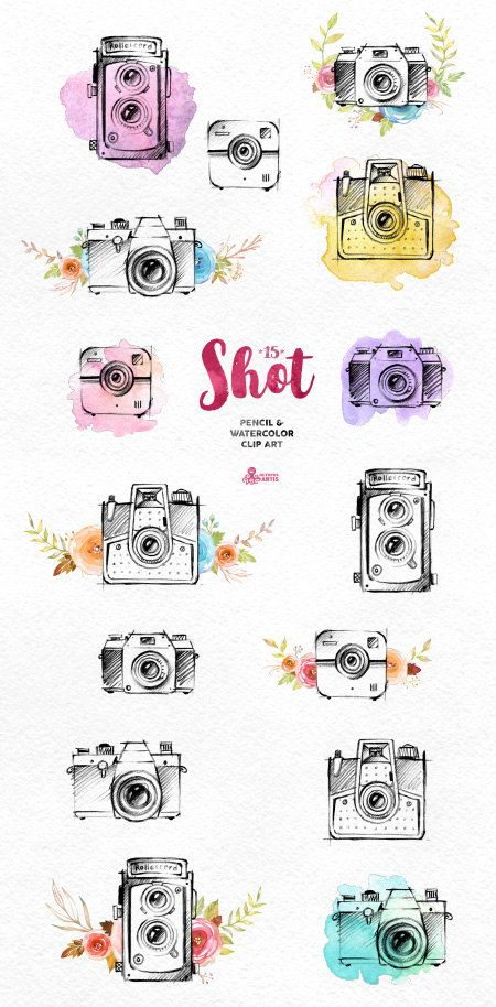Shot. 15 Handpainted pencil & watercolor cameras, invitation, logo, photocamera, quote, boho, sketch, retro, floral, flowers, diy identity