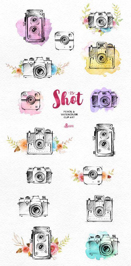 Shot. 15 Handpainted pencil & watercolor cameras, invitation, logo, photocamera, quote, boho, sketch, retro, floral, flowers, diy identity