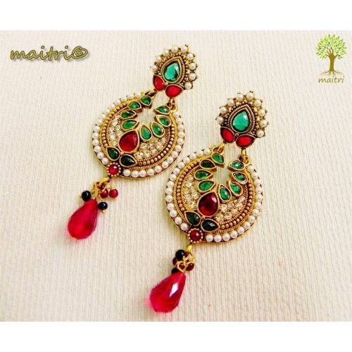 Online Shopping for Antique Earring -  Red green Gold | Earrings | Unique Indian Products by Maitri Crafts    AME 33 - Red Green Gold Length :  9 cm, breadth : 4 cm  maitri_crafts@yahoo.com