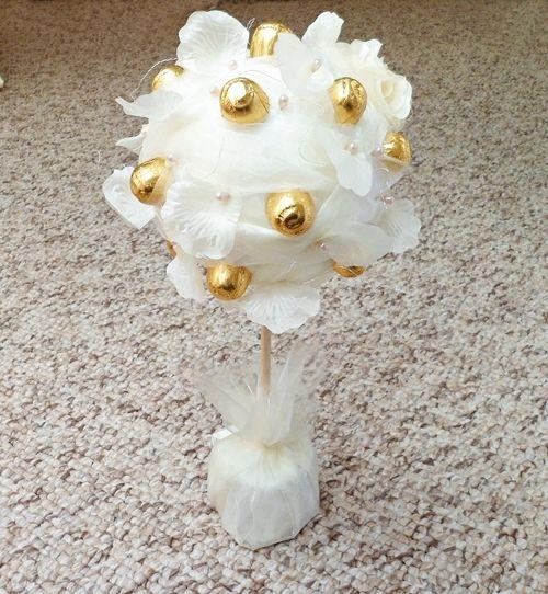 Drzewko z cukierków RÓŻE Ecru Prezent na ślub, rocznicę ślubu