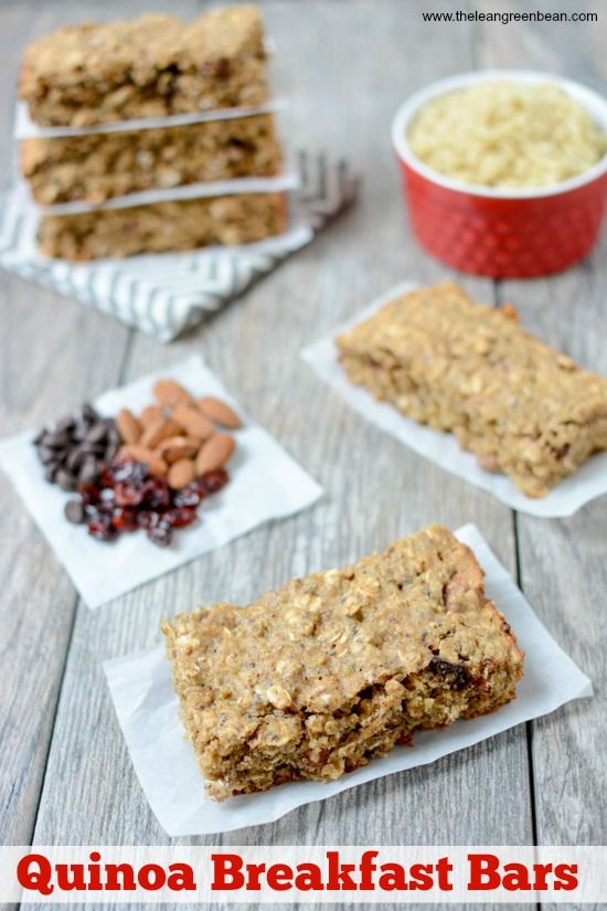 These quinoa breakfast bars are chewy and delicious- perfect for breakfast or an afternoon snack. They can easily be made gluten-free and are easy to customize with your favorite mix-ins!