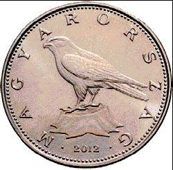 50 forintos címletű érmén a Kerecsensólyom látható