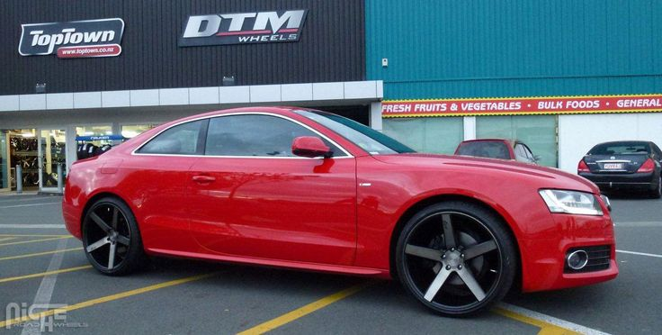 2007 Red Audi A5 with Machined Black with Dark Tint Niche Sport Milan Wheels. Staggered 20 inch Milan Rims. 20x8.5 in the front and 20x10.5 in the rear.