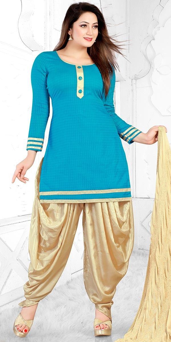 Shiny Blue Cotton Salwar Suit With Dupatta.