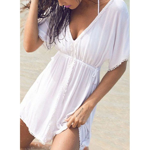 White Fringed Mini Dress