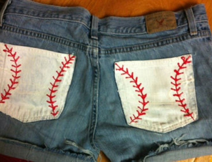 DIY baseball shorts, perfect for baseball season. I plan to make some for Reds games - shirts, flannel, flannel, summer, outfits, oversized shirt *ad