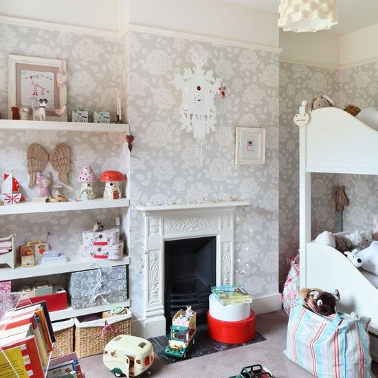 Go for a soft patterned wallpaper for a timeless look. Plenty of storage and pastel accessories add warmth and character.