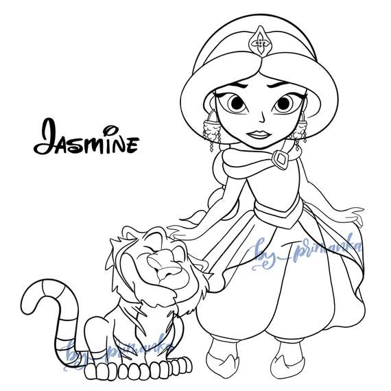 Svg Png Baby Jasmine With Tiger Aladdin Characters Coloring Etsy In 2020 Disney Princess Coloring Pages Manga Coloring Book Princess Coloring Pages