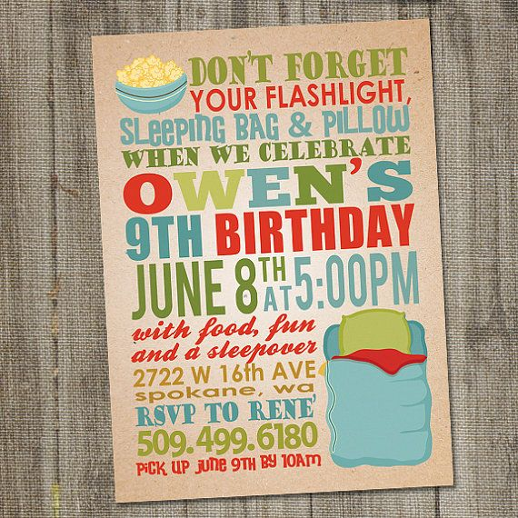 Sleep Over Overnight Printable Birthday Party by partymonkey, $15.00