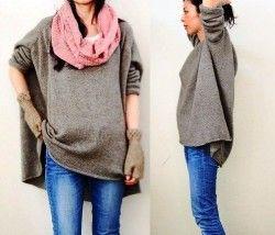 Пуловер оверсайз спицами для начинающих