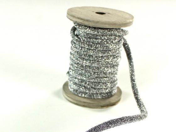 Cordon tressé lurex 6 mm, argentin