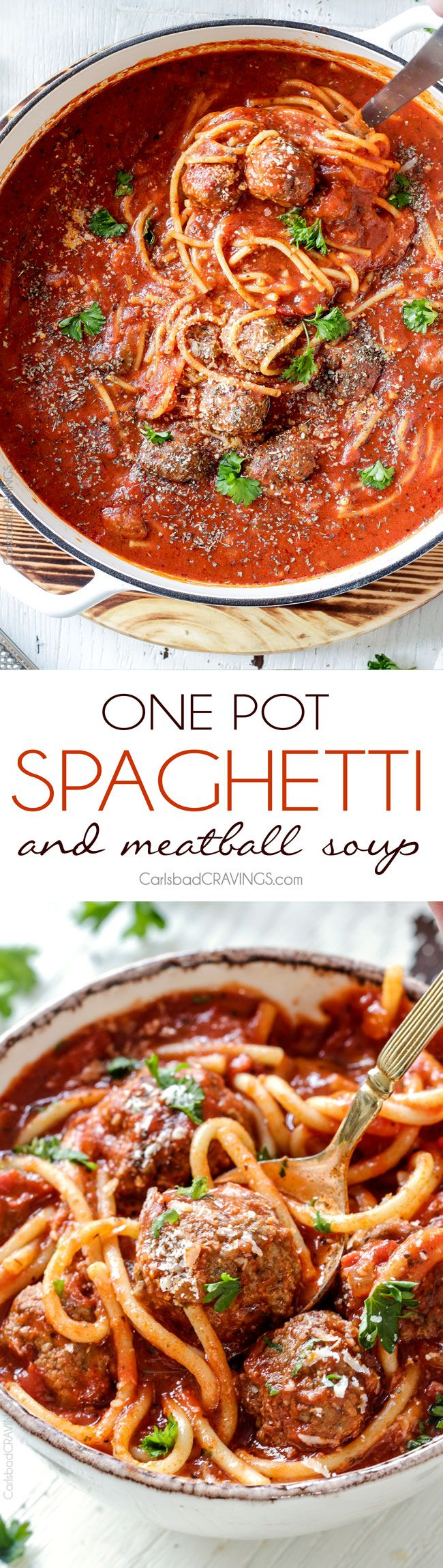 Easy ONE POT Spaghetti and Meatball Soup is the most delicious way to eat spaghetti! and the Parmesan meatballs are out of this world!