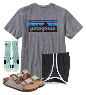 """It's too cold to wear this "" by christyaphan ❤ liked on Polyvore featuring Patagonia, NIKE and Birkenstock by bobbi"