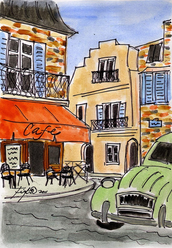 Orange Cafe in Provence original painting by Fifi Flowers