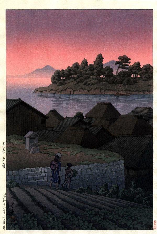 Amakusa Honryo, by Kawase Hasui, 1937 -- See also at: http://www.sakurafineart.com/tenplate/hs-19.html