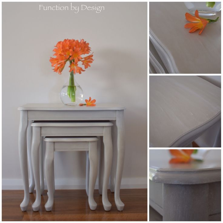 I love the Queen Anne legs and the curved detail of the table tops on this nest of tables. They have such an elegant feel. Each table has been painted with a soft beige custom mix of Annie Sloan Chalk Paint and has been sealed with white wax to give them a soft washed effect.  #whitewax #paintedfurniture #chalkpaint #nestoftables