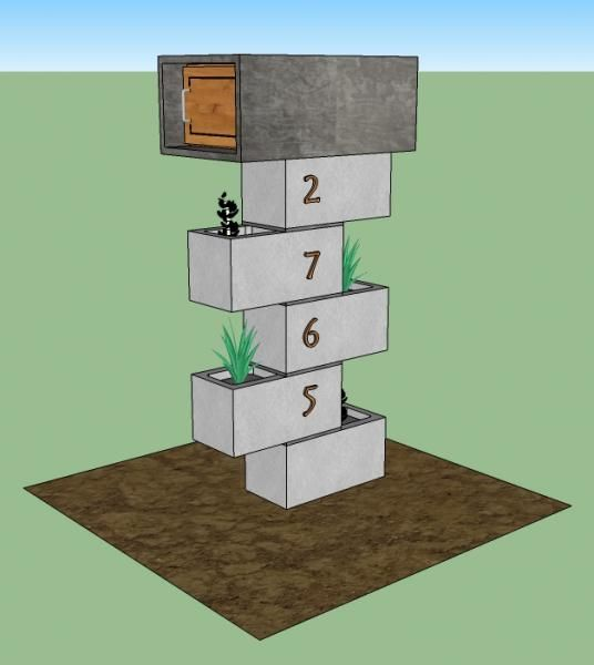 Cement block mailbox