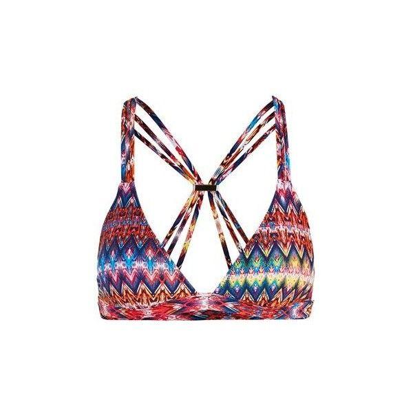 TopShop Bright Aztec Triangle Bikini Top ($24) ❤ liked on Polyvore featuring swimwear, bikinis, bikini tops, multi, swim suit tops, aztec bikini top, bright colored bikinis, triangle swimwear and strappy bikini