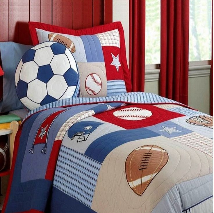 Soccer, Baseball and Football Theme Handmade Patchwork Quilt - Pattern: Patchwork - Color Fastness (Grade): National Standards - Grade: Quality - Pattern Type: Nautical - Type: Bedding Set - Style: Pl