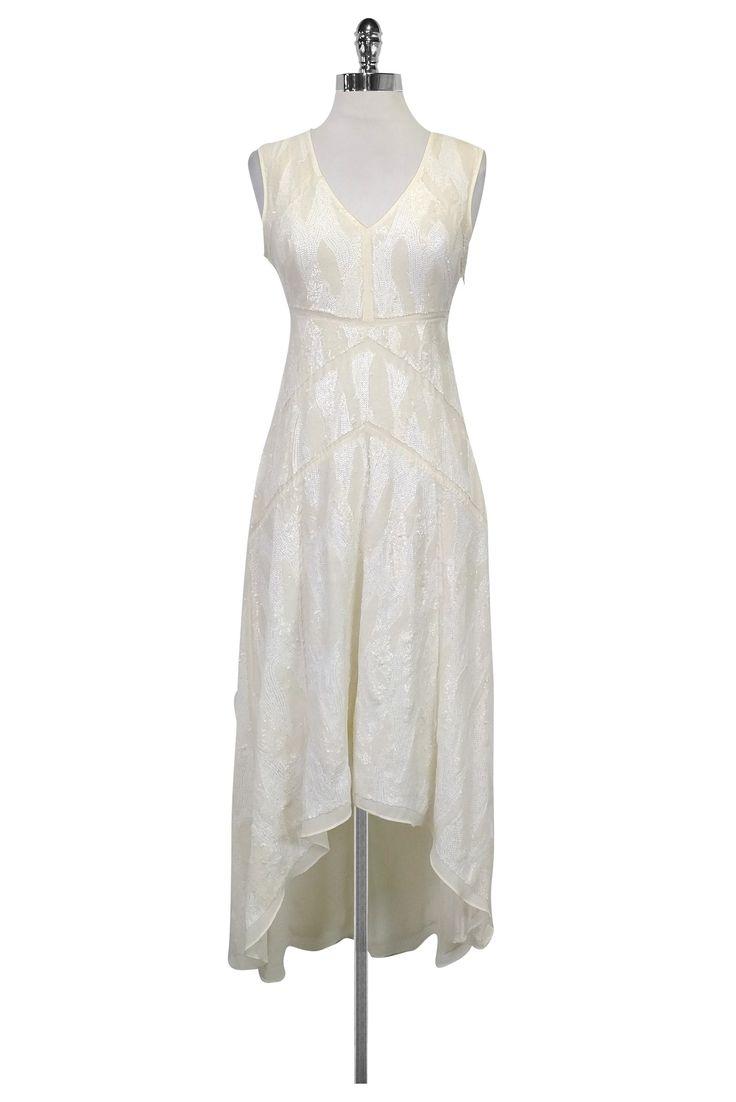 BCBG Max Azria- Cream Sequin Dress Sz 2 | Current Boutique