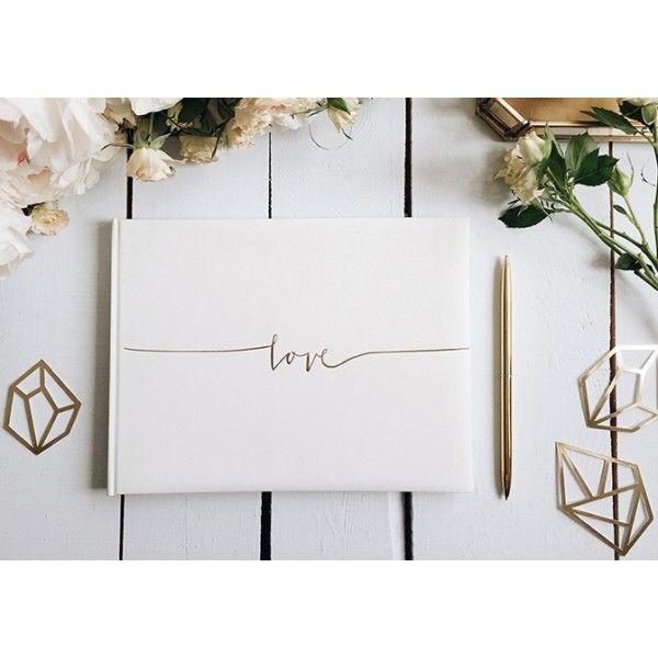 Livre d'or mariage Blanc Love Doré