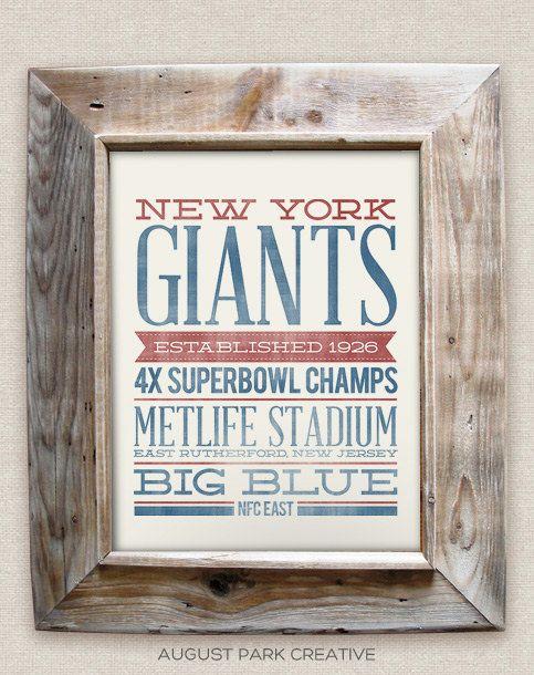 NEW YORK GIANTS - 8x10- Rustic - Vintage Style - Typographic Art Print - Subway Style - Football. $12.00, via Etsy.