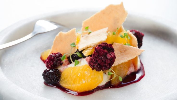 Reynold Poernomo's cheesecake mousse recipe with blackberry compote and lemon…