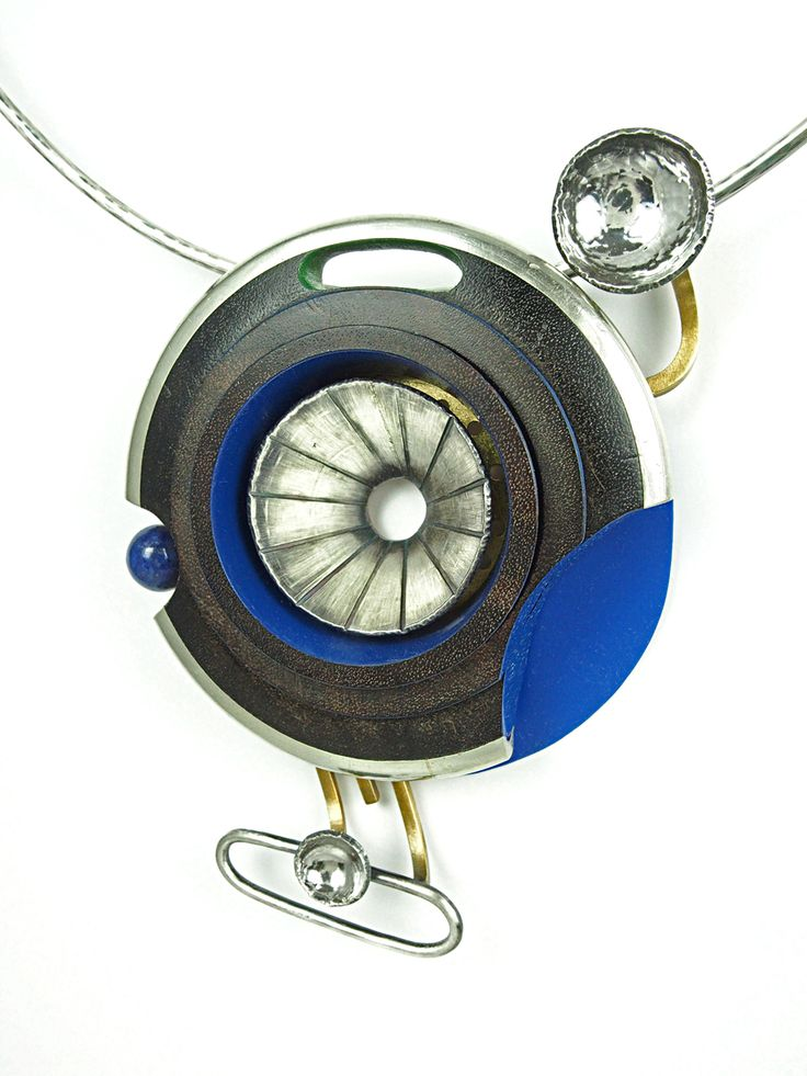 "Lisa & Scott Cylinder - Siren Necklace, 2015, Sterling silver, brass, stainless steel, nickle silver, vintage clarinet parts, celluloid, lapis lazuli, 23ky gold leaf, paint, 4.5 x 3.75 x 1"" pendant - 20"" chocker"