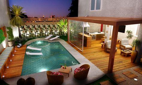 1- Sonho! Espreguiçadeira e vasos vietnamitas em azul combinando com a piscina!     O paisagismo faz toda diferença para valorizar o i...