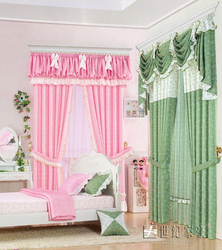 Европейский занавес шторки пастырской розовые спальни шторы на заказ закончил воланами белая бабочка принцесса шторы - Taobao