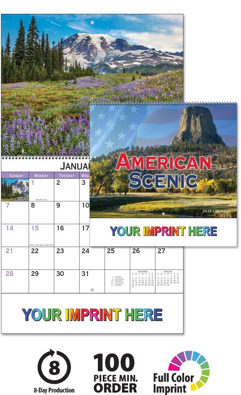 2018 American Scenic (Spiral) Calendar, Promotional Appointment Calendars, american scenic calendars, scenic america, business calendars, promotional wall calendars, personalized wall calendars, 2018 wall calendar, 2018 calendar, promo products, www.valuecalendars.com, american scenic calendar, 2018 scenic calendar, business promotional product