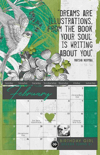 ScrapSimple Calendar Templates: 11x17 Blenders 2018 by Brandy Murry for www.ScrapGirls.com