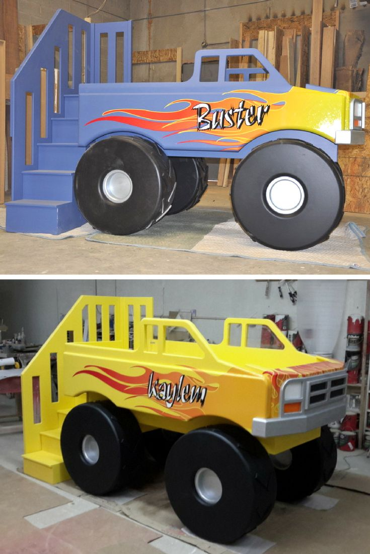 This Monster Truck Bed is just what your little racer needs for their monster truck bedroom. The flames are most definitely included! Click to learn more about our Monster Truck Bed.
