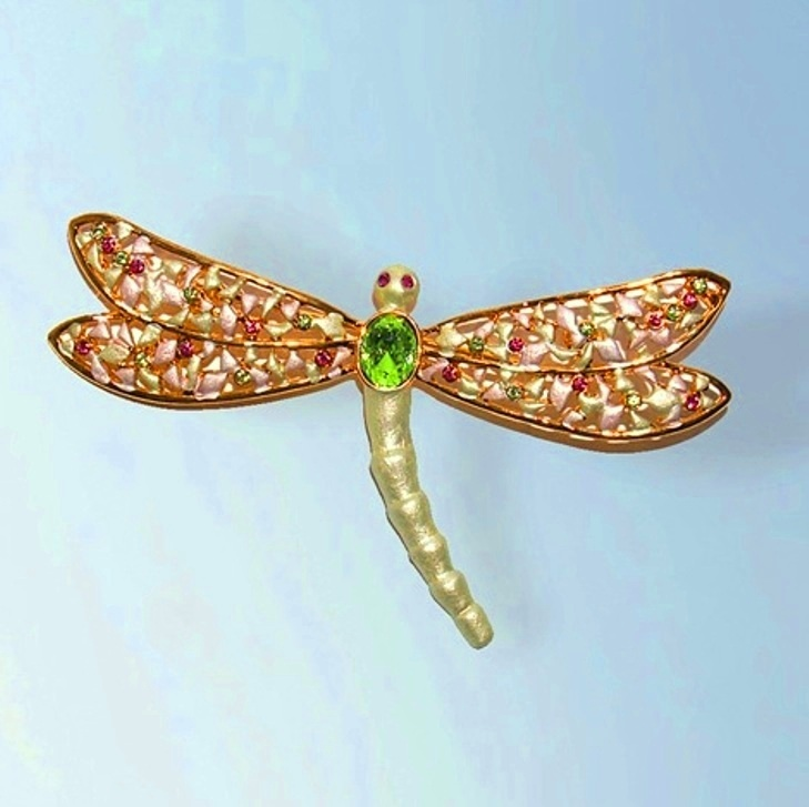 Big Swarovski Crystals Dragonfly Pin Gold Jewelry Green Brooch